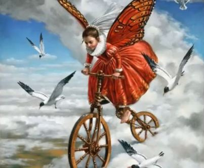 Butterfly & Seagulls - Michael Cheval