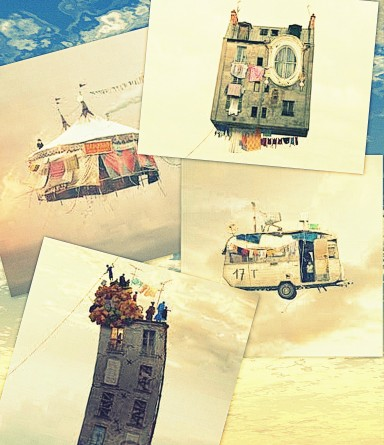 Collage: Flying Houses - L. Cherere