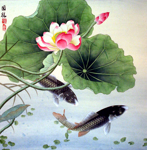 Koi Fish & Lotus Flower - Chinese Paint Art