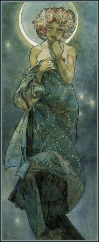 Moon by Alphonse Mucha